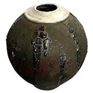 Large Signed Raku Art Pottery Vase