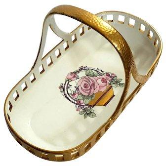 Max Roesler RVR Bavaria Porcelain Rose Basket, Circa 1910