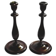 19th Century Hand-Turned English Wooden Candlesticks