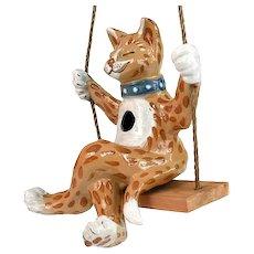 Louisville Stoneware Art Pottery Cat On A Swing Birdhouse