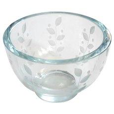 Vintage Signed Orrefors Etched Crystal Bowl