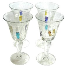 Set Of Four Hand-Blown Art Glass Stemmed Glasses