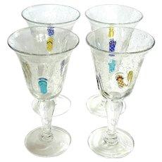 Set Of Four Hand-Blown Art Glass Stemmed Glasses