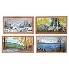 Set Of Four Vintage Landscape Paintings On Board By W. Raeish