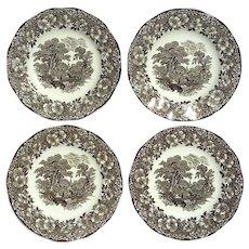 Set Of Four Wedgwood Woodland Brown Transferware Plates