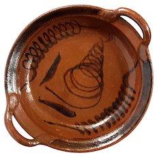 Vintage Redware Handled Bowl