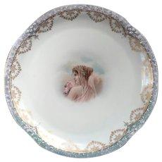 Antique Z & S Co Bavaria Porcelain Portrait Charger
