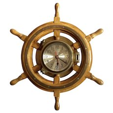 Vintage Wood And Brass Ship's Wheel Clock