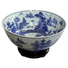 Large Chinese Blue And White Porcelain Bowl On Rosewood Stand