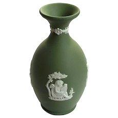 Wedgwood Green Jasperware Cherub Vase