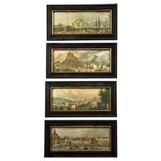 Set Of Four H. Hal Kramer Antiqued Framed Italian Landscape Prints