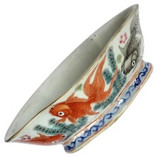 19th Century Signed Chinese Footed Oval Porcelain Bowl