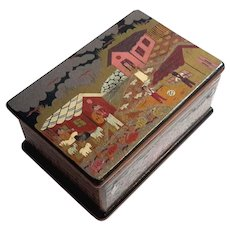 Vintage Signed And Hand-Painted Wooden Souvenir Box
