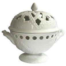 Kaldun And Bogle White Pierced Porcelain Pedestal Potpourri Bowl