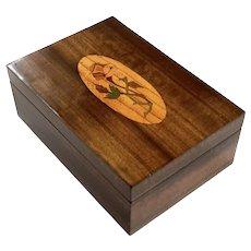 Italian Marquetry Inlaid Wood Box, Circa 1928
