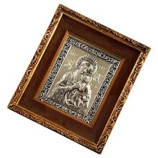 Vintage Gilt Wood Framed Silver Madonna And Child Icon