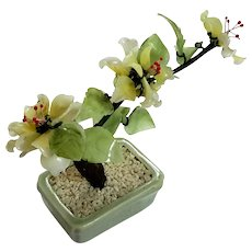 Vintage Signed Chinese Jade Tree In Celadon Pot