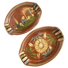 Early Vintage Mexican Tlaquepaque Pottery Nesting Bowls