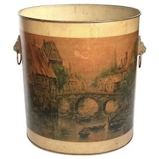 Vintage French Country Metal Toleware Waste Can
