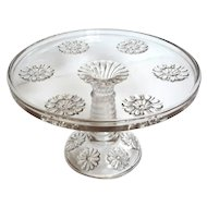 Early American Pattern Glass Flower Cake Stand