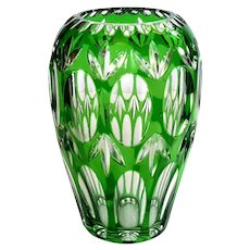 Green Cut To Clear Bohemian Glass Vase