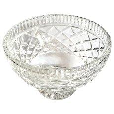 Vintage Irish Waterford Diamond Cut Crystal Pedestal Bowl