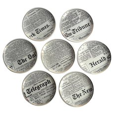 Very Rare Set Of Bucciarelli Milano New York Newspaper Coasters