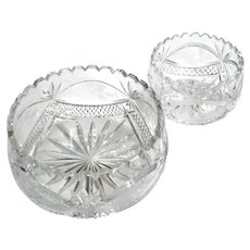 Set Of Two Antique Cut Crystal Bowls