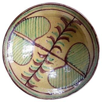 Large Antique French Glazed Terracotta Bowl