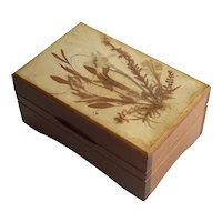 Vintage Swiss Music Box With Dried Flowers
