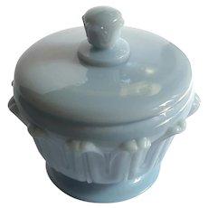 Vintage French Blue Opaline Glass Lotus Flower Jar