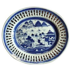 19th Century Chinese Reticulated Canton Porcelain Platter