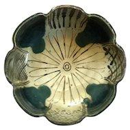 Antique Signed Japanese Oribe Pottery Lotus Flower Bowl