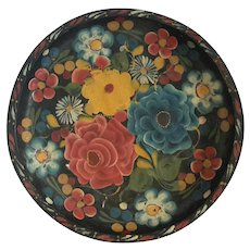 Large Vintage Mexican Folk Art Painted Wood Tray