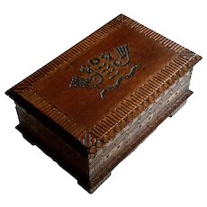 Vintage Carved Wood Box From Poland