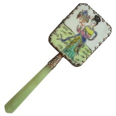 Chinese Porcelain Mirror With Jade Handle