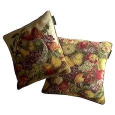 Pair Of Williamsburg Fruit Motif Needlepoint Pillows