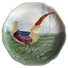 Antique French CHOISY Le ROI Majolica Pottery Pheasant Plate