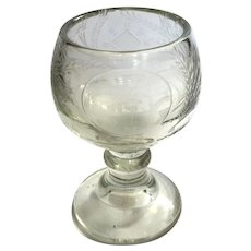Antique Hand-Etched Glass Goblet