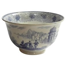 19th Century Blue Transferware Pearl China Bowl