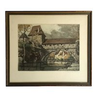 Signed Etching By German Artist Rudolph Veit, 1892 - 1979