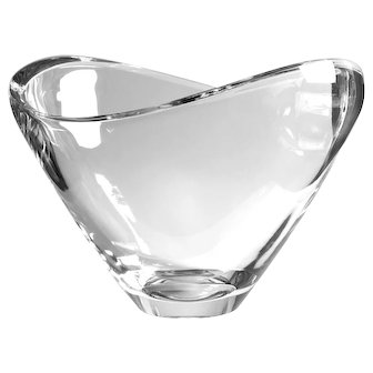 Large Signed Nambe Crystal Butterfly Center Bowl
