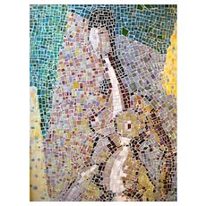 Mid-Century Modern Framed Tile Mosaic Abstract Nude