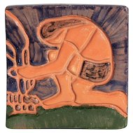 Signed Vintage Moravian Tile Of A Native American Indian Starting A Fire, Circa 1971