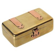 Antique Chinese Hand-Forged Brass Box With Copper Hinges And A Rosewood Interior, Circa 1900