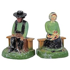 Vintage Pair Of Painted Metal Amish Figure Bookends, Circa 1940