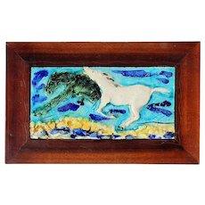 Vintage Italian Glazed Art Tile Of Two Horses In A Custom Mahogany Frame