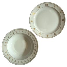 Bing And Grondahl Porcelain Child's Number Plate And Alphabet Bowl