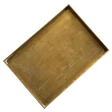 Chinese Brass Water Buffalo Gallery Tray