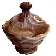Imperial Chocolate Slag Glass Lidded Bowl